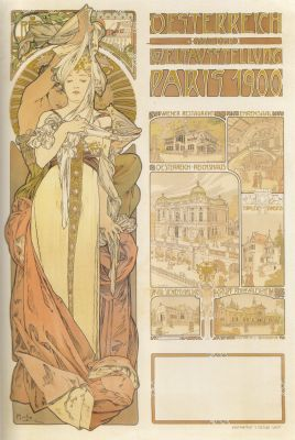 0008 1900年パリ万国博覧会 オーストリア館 1900年 カラーリトグラフ... ミュシャ